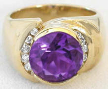 Round Amethyst Diamond Rings in 14k Yellow Gold
