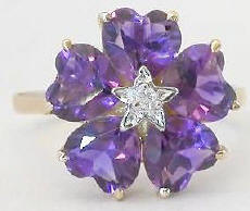 Amethyst Flower Ring with Diamond Accent in 14k yellow gold