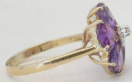 Amethyst Flower Ring in 14k yellow gold