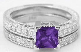 Princess Cut Antique Style Amethyst Engagement Ring and Wedding Band