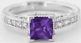 Princess Cut Antique Style Amethyst Rings