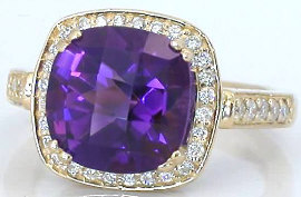 Cushion cut amethyst engagement rings