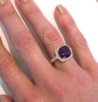 Cushion cut amethyst engagement rings in 14k yellow gold