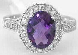 Oval amethyst engagement rings in 14k