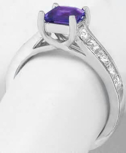 Princess Cut Amethyst Engagement Ring With Channel Set
