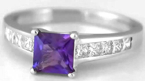 Princess Cut Amethyst And Princess Cut Diamond Ring In 14k