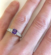 Amethyst Engagement Rings with Channel Setting