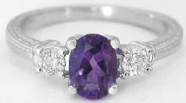 Amethyst Diamond Ring in 14k white gold
