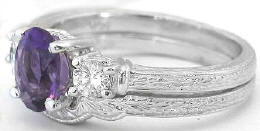 Three Stone Amethyst Engagement Ring and Contoured Wedding Band with Engraving