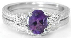 Amethyst Engagement Ring and Contoured Wedding Band with Engraving