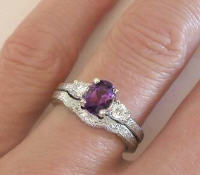 Vintage Engraved Amethyst Engagement Ring and Wedding Band in 14k