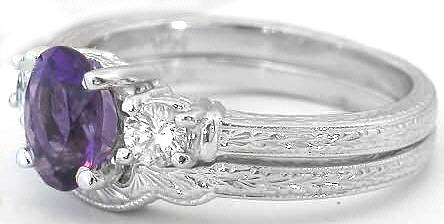 3 Stone Amethyst Engagement Ring And Wedding Band With