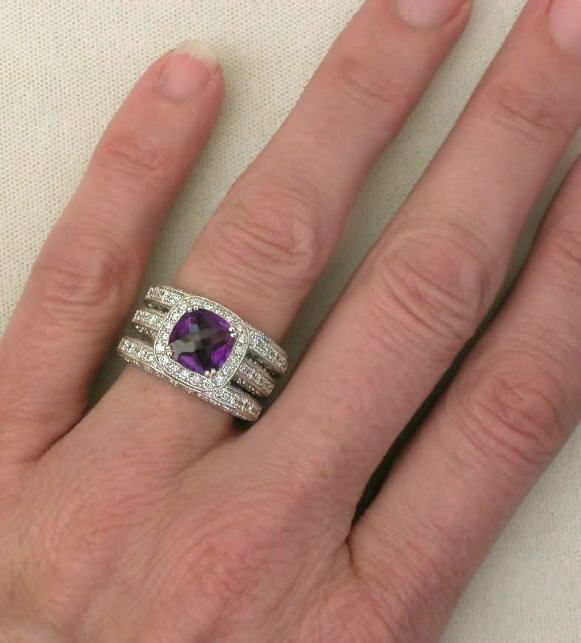 Cushion Cut Amethyst And Diamond Engagement Ring With