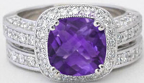 Cushion Cut Amethyst Engagement Ring and Matching Wedding Band