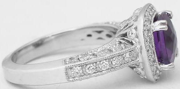 Cushion Cut Amethyst Diamond Halo Engagement Ring in 14k