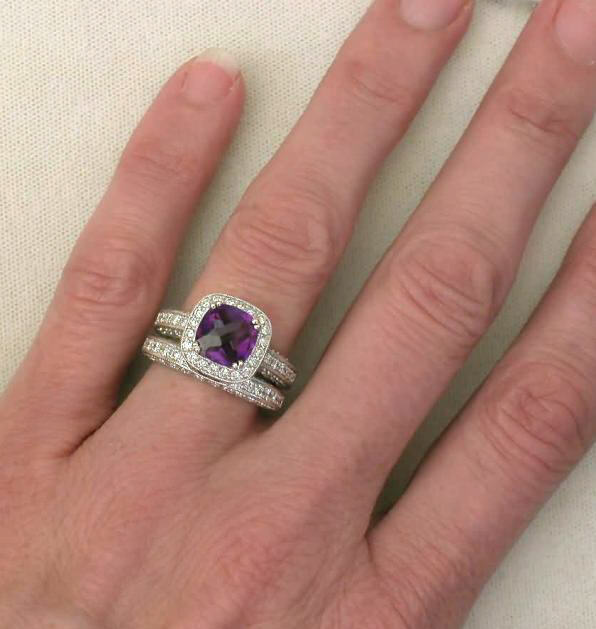 Cushion Cut Amethyst and Diamond Engagement Ring with ...