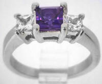 Diamond Alternative Amethyst Engagement Rings