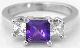 Princess Cut Amethyst and White Sapphire Ring