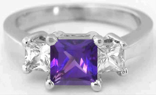 Princess Cut Amethyst And White Sapphire Engagement Ring