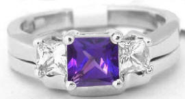 Amethyst Engagement Ring and Wedding Band