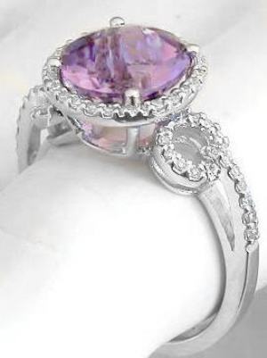 checkerboard faceted light amethyst and halo