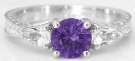 Round Amethyst and Pear White Sapphire Ring