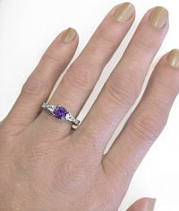 Round Amethyst and Pear White Sapphire Ring in 14k