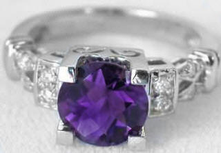 8mm Round Amethyst Diamond Engagement Ring