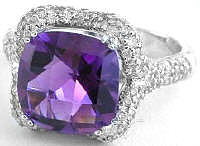Cushion Cut Amethyst Micro Pave Diamond Engagement Rings