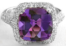 Amethyst Micro Pave Diamond Engagement Rings