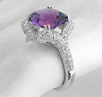 Unique Pave Diamond and Amethyst Engagement Ring
