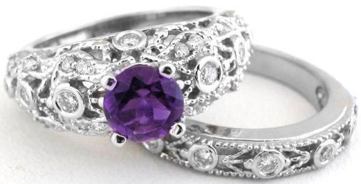 Ornate Vintage Styled Amethyst Engagement Ring And