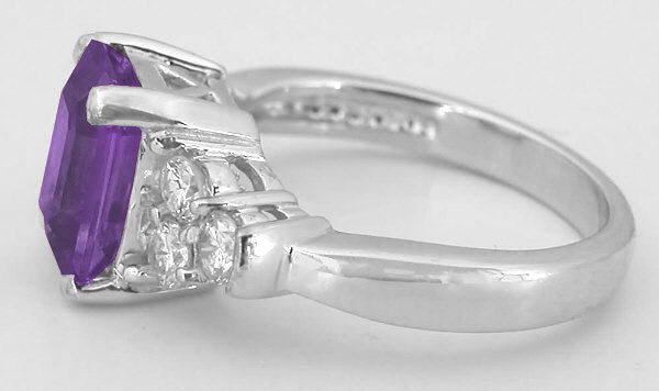 emerald cut amethyst and round diamond ring in 14k white. Black Bedroom Furniture Sets. Home Design Ideas