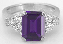 2.77 carat total weight Emerald Cut Amethyst and Diamond Ring in 14k white gold