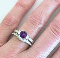 Round Amethyst Oval Diamond Engagement Ring and Matching Diamond Wedding Band in 14k