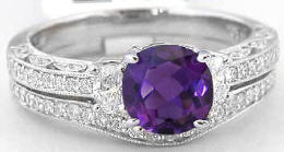 Vintage Amethyst Engagement Ring with Wedding Band