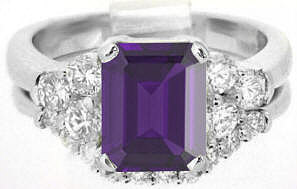 Classic 2.77 ctw Amethyst and Diamond Engagement Ring in 14k white gold