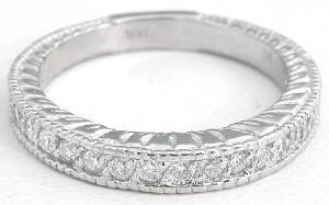 0.32 ctw Bead Set Diamond Anniversary Band in 14k White Gold