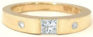 Princess Cut Diamond Ring with Burnished Diamonds in 14k yellow gold