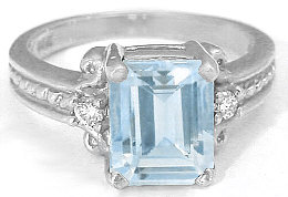 Emerald Cut Aquamarine Engagement Ring