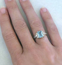Emerald Cut Aquamarine Engagement Ring in 14k white gold