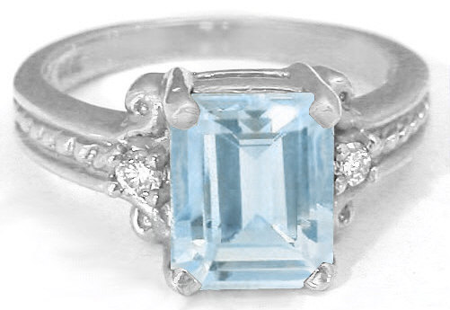 Emerald Cut Aquamarine Ring In 14k White Rope Design From