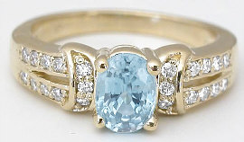 Aquamarine Engagement Rings in 14k Gold