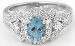 Aquamarine and Diamond Encrusted Engagement Ring in 14k white gold