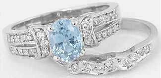 Aquamarine and Diamond Engagement Rings in 14k white gold
