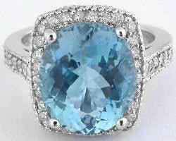 Fine Aquamarine Diamond Engagement Ring