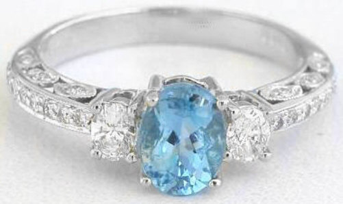 Antique Style Aquamarine And Oval Diamond Engagment Ring