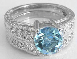 Vintage Round Aquamarine Diamond Engagement Ring and Wedding Band