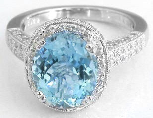 Diamond Encrusted Ring With Large Oval Aquamarine In 14k