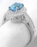 Antique Aquamarine Diamond Halo Engagement Ring